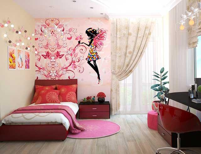 Jugendzimmer für Mädchen mit Wandtattoo